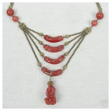 Czech Carnelian Glass Gold Gilt Metal Necklace Rope Twist Chain