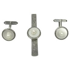 Sterling Silver Tie Bar And Cuff Link Set Pearl & Mother Of Pearl