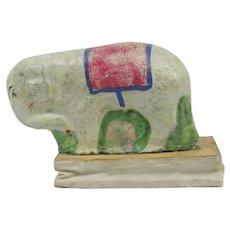 Antique Primitive Gesso Paper Mache Squeak Toy Elephant