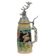 Louis F. Neuweiler & Sons German Beer Stein With Elk Head Allentown Pa