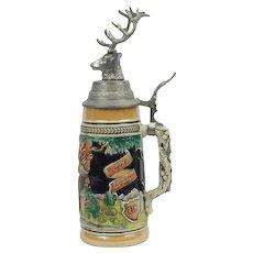 Louis F. Neuweiler & Sons German Beer Stein With Elk Head Allentown Pa