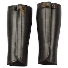 Pair Of WWII Leather Gaitors Gaiters Leggings