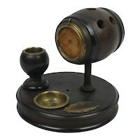 Antique Barrel Match Striker And Holder Ash Tray Cigar And Watch Holder