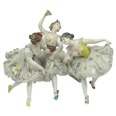 Rare Dressel And Kister German Porcelain & Lace Ballerina Figure