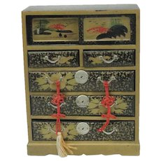 Japanese Wooden Lacquer Ware Chest Of Drawers Doll House Size