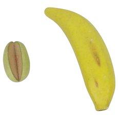 Vintage Porcelain Banana & Melon Fruit Food For Doll House
