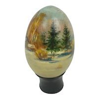 Russian Lacquer Ware Hand Painted Egg Initialed