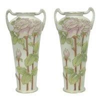Pair Of Antique Coralene Rose Pattern Vases Kinran