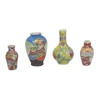 4 Porcelain Oriental Miniature Vases Doll House
