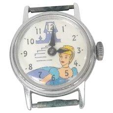 Vintage Ingersoll Walt Disney Productions Cinderella Mechanical Wrist Watch 1970's
