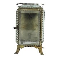 Antique Beveled Glass Watch Holder Orleans Souvenir Casket Vitrine Box