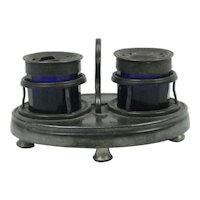 Antique Pewter & Cobalt Blue Glass Inkwell & Pounce Set
