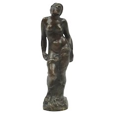 """Vintage Small Bronze Nude Woman Signed 5 1/4"""""""