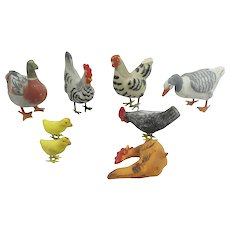 8 German Composition Duck Rooster Chicken Chicks With Metal Feet Barnyard Putz