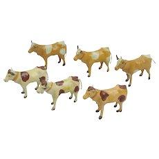 6 German Composition And Stick Leg Cows Putz