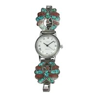 Vintage Native American Sterling Silver Inlaid Turquoise Coral Watch Band With Eagle