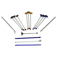 15 Blown Glass Cocktail Muddlers Stirrers and Swizzle Sticks