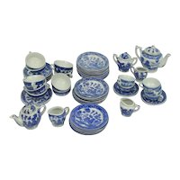 Lot Of Vintage Blue Willow Child/Doll Japan Dinner Ware Tea Pots 52 Pieces