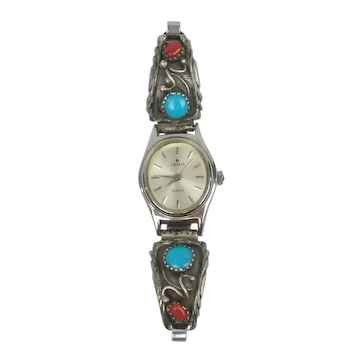 Vintage Native American Sterling Watch Band Coral & Turquoise Signed RB