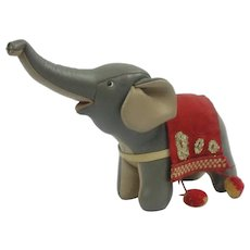 Vintage 1960's Stuffed Leather Tomi Mid Century Modern Elephant