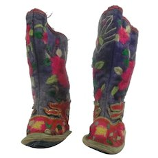 Pair Of Antique Chinese Embroidered Silk Shoes Boots