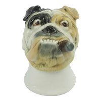 Vintage German Porcelain Bulldog With Cigar Candle Snuff or Shot Glass