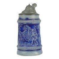 Antique German Miniature Salt Glazed Stoneware Stein Saint St Nicholas