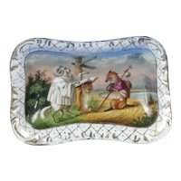 Antique Old Paris Porcelain Match Holder With Striker Reynard the Fox Scene