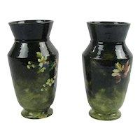 Antique French Haviland Limoges Pair of Barbotine Vases Terre Cotta Signed