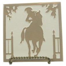 Vintage Franklin Art Tile Paul Revere On Horse From Lansdale Pennsylvania