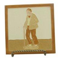 Vintage Franklin Art Tile Elderly Dutch Man With Cane From Lansdale Pennsylvania