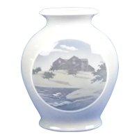 """Vintage Royal Copenhagen Denmark #4051 Vase 9"""" Scenic Swan Lake"""