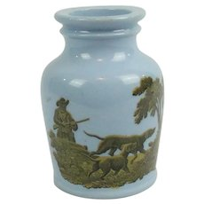 Antique Blue Ceramic Mustard Jar Hunting Scenes