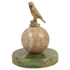 Antique Gilded Bronze Bird On Marble/Agate Ball & Base