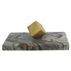 Marble/Agate Cube On A Marble/Agate Base Paperweight