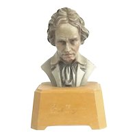 Vintage Anri Beethoven Bust On Stand Reuge Swiss Music Box