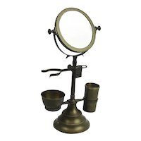 Antique Brass 3 Piece Shaving Kit And Mirror On Stand Adjustable