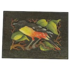 Vintage Anri Music Box With Colorful Baltimore Oriole In Tree Carving