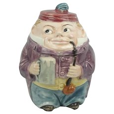 Majolica Figural Humidor Tobacco Jar Googly Eye Pipe Beer Mug