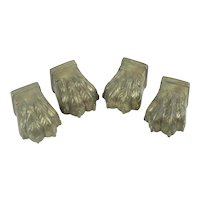 4 Large Antique Brass Lions Paws For Furniture Feet