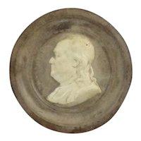 Antique Benjamin Franklin Pottery Cameo Medallion In Velvet Frame