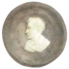 Antique Lord Byron Cameo Pottery Medallion In Original Frame