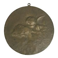 "Glauber Clev' D.O Brass Plaque Of Cupid And Psyche ""Angels Kiss"""