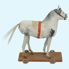 Early Papier Mache Horse Pull Toy On Wood Plank With Wood Wheels