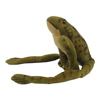 Vintage Steiff Velvet Frog 1950's #3410 With Button