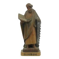Vintage Anri Carved Wooden Figure Of Simeon Made In Italy