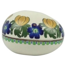 Royal Copenhagen Aluminia Faience Floral Decorated Egg Denmark