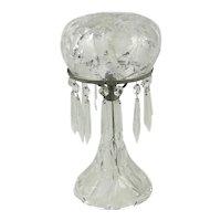 Cut Glass Mushroom Boudoir Lamp With Crystal Prisms
