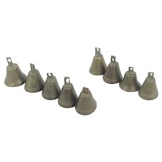 9 Antique Small Open Mouth Hand Made Bells  9 Different Tones