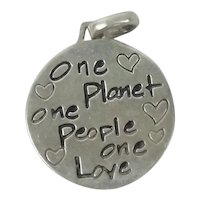 Sterling Silver Earth Charm Pendant